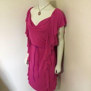 DVF Hazelle Hot Pink Drape Ruffle Dress 14 XL Plus